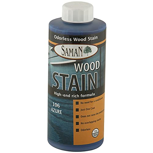 SamaN Interior Water Based Wood Stain & Natural Furniture, moldings, Wood Paneling and cabinets Stain (Azure TEW-106-12, 12 oz)