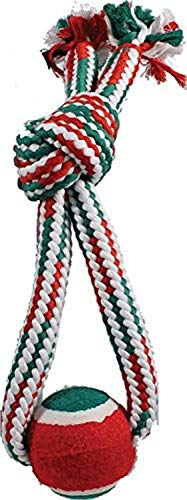 SPOT Ethical Christmas 58431 689842 Holiday Crinkle Rope with Tennis Ball Tug Dog Toy, Red/Green, 13\