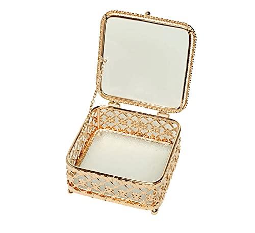 Joyero decorativo elegante de metal cuadrado joyero de regalo para el Día de la Madre y cumpleaños, transparente dorado (cuadrado)