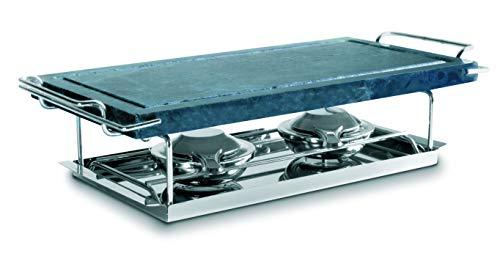 IBILI Grill Acero Inoxidable-Medidas 37 x 18 cm-Incluye Piedra con Soporte, Bandeja y 2 lamparillas, Plata