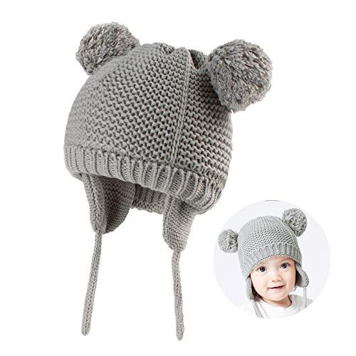JTENG Unisex Baby Mütze Baby Wintermütze Beanie Kleinkind Unifarbe Warm Mütze Strickmütze