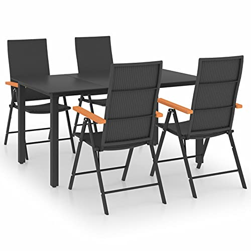 Ksodgun Juego de Comedor para jardín 5 Piezas Bistro Silla Asiento para Terraza Balcón Patio Muebles Negro y marrón - Mesa:150 x 90 x 74 cm