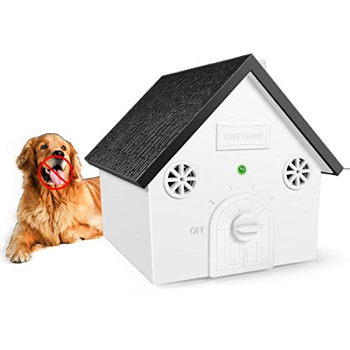Zomma Anti Barking Device, New Bark Box Outdoor Dog Repellent Device with Adjustable Ultrasonic Level Control Safe for Small Medium Large Dogs, Sonic Bark Deterrents, Bark Control Device
