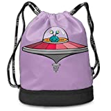 ewtretr Turnbeutel Hipster Sporttaschen Alien Flying UFO Drawstring Backpack Compartment Sport Bags...