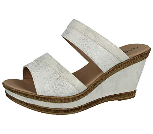 Cushion Walk Damen-Sandalen, Leder, gefüttert, Peep-Toe, mittlerer Keilabsatz, Slipper, Größe 36-42, Silber - Silberfarbene Schlange - Größe: 37 EU