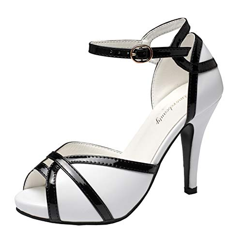 getmorebeauty Women's Vintage White and Black Peep Toes Dress Shoes High Heels Ladies Open Toe Party Pumps Two Tone Sandals (US 9, White)