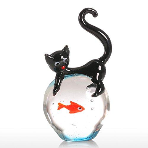 Tooarts Cadeaux de chat et de poissons rouges Ornement en verre Figurine d'animal Handblown Décor de maison Noir et rouge