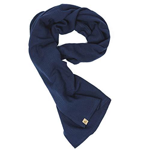 Mummelito XXL Tuch 23 Farben Farbwahl Halstuch Musselintuch Musselin Damen Damenhalstuch Dreieckstuch Schal Herren Männer Frauen Herrenhalstuch Dreieckig leicht (einlagig), marineblau