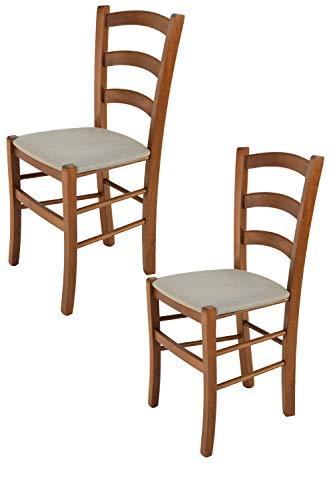 Tommychairs - Set 2 sedie modello Venice per cucina bar e sala da pranzo, robusta struttura in legno di faggio color noce chiaro e seduta rivestita in tessuto colore camoscio