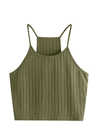 SheIn Women's Summer Basic Sexy Strappy Sleeveless Racerback Crop Top Army Green Small