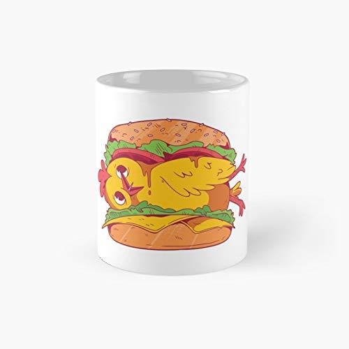 Taza clásica de hamburguesa de pollo | El mejor regalo divertidas tazas de café de 325 ml