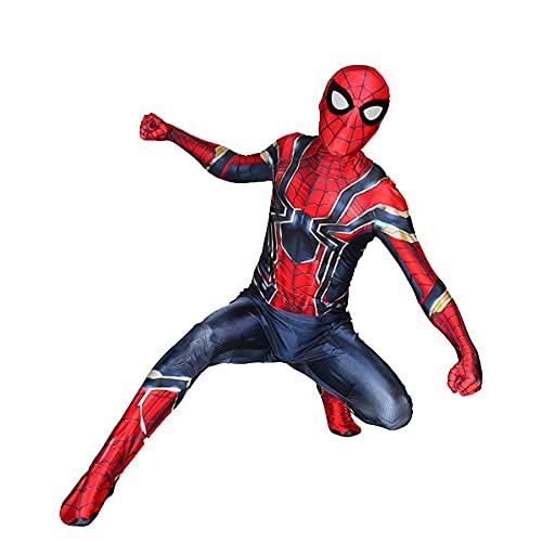 FLJLGY Niños Iron Spiderman Disfraces de Disfraces Vengadores Trajes de Mono Adultos Halloween Cosplay Medias Traje Traje de superhéroe Traje de Mameluco,Red- Adult M 165~170cm