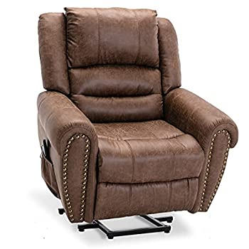 ANJ Power Lift Recliner Chair with Massage and Heat Faux Leather Electric Lift Chairs for Elderly Heavy Duty Motorized Recliners Single Lounge Sofa with USB Port  Nut Brown