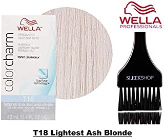 Wella COLOR CHARM Permanent LIQUID HAIR TONER (w/Sleek Tint Brush) Haircolor Liquifuse, 1:2 Mix Ratio Hair Color DYE (T18 Lightest Ash Blonde.)