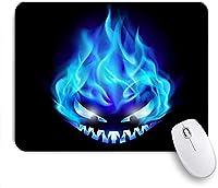 KAPANOU マウスパッド、ブルーフレイムゴーストホラーバーニングパンプキンナイトメアデーモンシンプルクールなデザイン おしゃれ 耐久性が良い 滑り止めゴム底 ゲーミングなど適用 マウス 用ノートブックコンピュータマウスマット