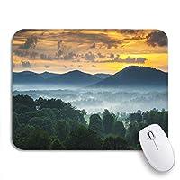 ECOMAOMI 可愛いマウスパッド アッシュビルNcブルーリッジ山脈の夕日と霧の風景滑り止めラバーバッキングマウスパッドノートブックコンピューターマウスマット
