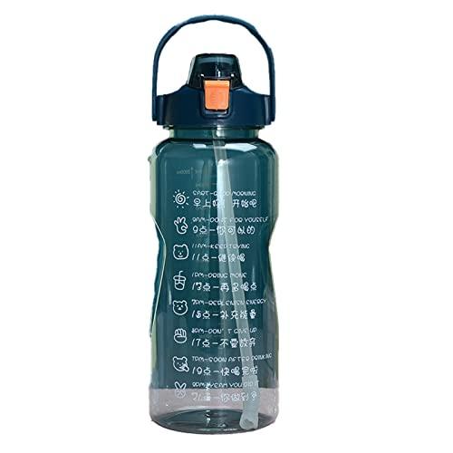 QKFON Botella de agua libre de BPA de Tritran a prueba de fugas de 1.5/2L, botella de agua motivacional marcador de tiempo para fitness y deportes al aire libre