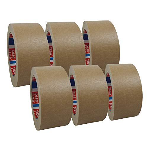 6 Rollen tesa 4713, Papierklebeband, Papier Packband, Verpackungsklebeband, 50mm x 50m, braun