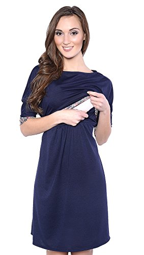 Mija - 3 in1 Umstandskleid & Stillkleid & Kleid/Schwangerschaftskleid Daisy 7131 (EU42 / XL, Marine blau)