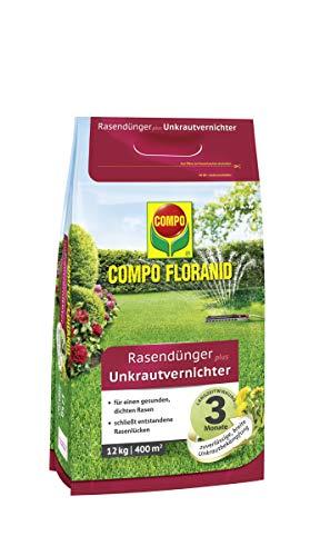 Compo FLORANID Rasendünger plus Unkrautvernichter, 3 Monate Langzeitwirkung, Feingranulat, 12 kg, 400 m²