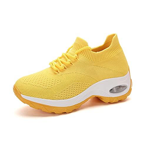 Atmungsaktive Trainer,Zapatos de Mujer Ligeros de Gran tamaño Aumentan los Zapatos Zapatos de Senderismo Casuales-Amarillo_41,Amortiguación,Transpirable,Ligera