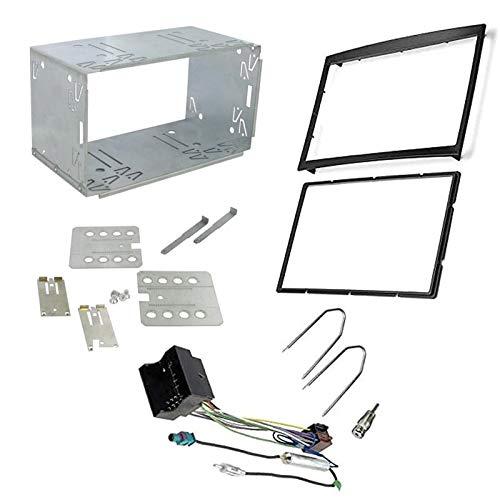 Sound-Way Kit Montage Autoradio, Marco 2 DIN Radio de Coche con Caja de Metal, Adaptador Antena, Cable Adaptador Conector ISO, Llaves Desmontaje Compatible con Citroen, Peugeot, Fiat