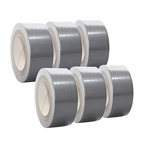 6 Rollen Premium Gewebeband in silber | Panzertape | Panzerband | Klebeband | Gaffa Tape | 50mm x 50m, Farbe:silber