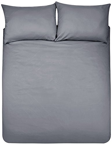 AmazonBasics Microfibre Duvet Cover Set, Double, Dark Grey