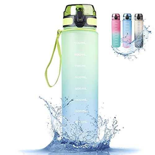 RaMokey trinkflasche sport 1l Wasserflasche,Auslaufsichere Sportflashce BPA Frei Schlanke Wasserflasche aus Tritan Wasserflasche kohlensäure für Fahrrad, Gym, Yoga, Outdoor, Camping