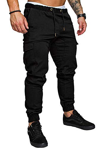 THWEI Men's Cargo Pants Slim Fit Casual Jogger Pant Chino Trousers Sweatpants(Black,L)