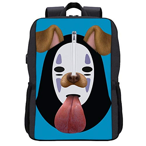 Spirited Away No Face Dog Snapchat Filter Backpack Daypack Bookbag Laptop School Bag with USB Charging Port