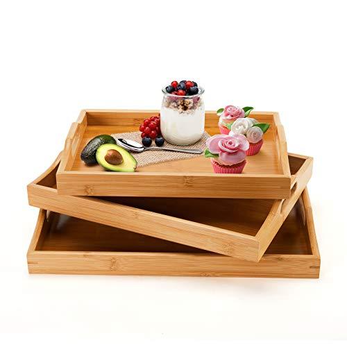 Bandejas de bambú para servir con asas, bandeja madera grandes para desayunar comer comida, juego de 3 bandejas de rectangular mesa de centro (Natural, 3)