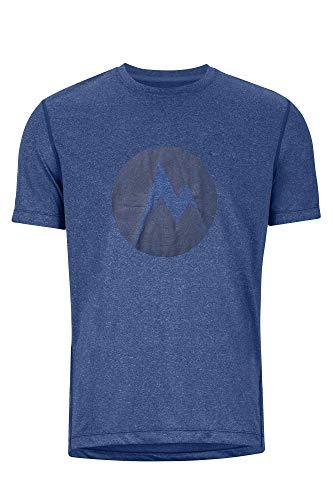 Marmot Transporter Tee SS T-Shirt Manche Courte, Chemise de randonnée, idéal pour Le Sport, la Gym, séchage Rapide, Respirant Homme, Varsity Blue Heather, FR : L (Taille Fabricant : L)