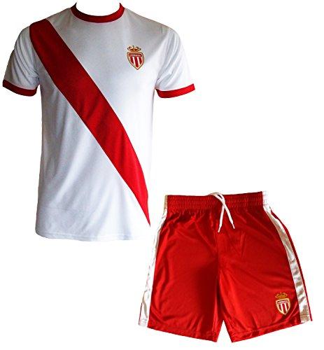 AS Monaco - Maglietta e pantaloncini della squadra di calcio AS Monaco, collezione ufficiale ASM FC, misura: da bambino, Ragazzo, rosso, 6 anni