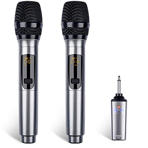Wireless Microphone Rechargeable Wireless Microphone System UHF Wireless Dual Handheld Dynamic Mic System Set with Rechargeable Receiver, for Karaoke, Singing, Party, Church, Wedding
