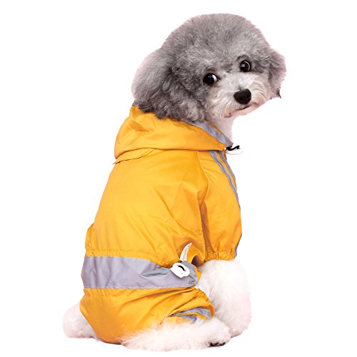 JIUI Hond Regenjas mode hond regenjas hooded hond regenjas | Hond regenring | 100% polyester | Waterdicht | Gele riem/grijze reflecterende streep | perfecte regenjas voor uw huisdier!, Puppy Fluorescent Reflective Four-legged Raincoat, S-back length is less than 25cm