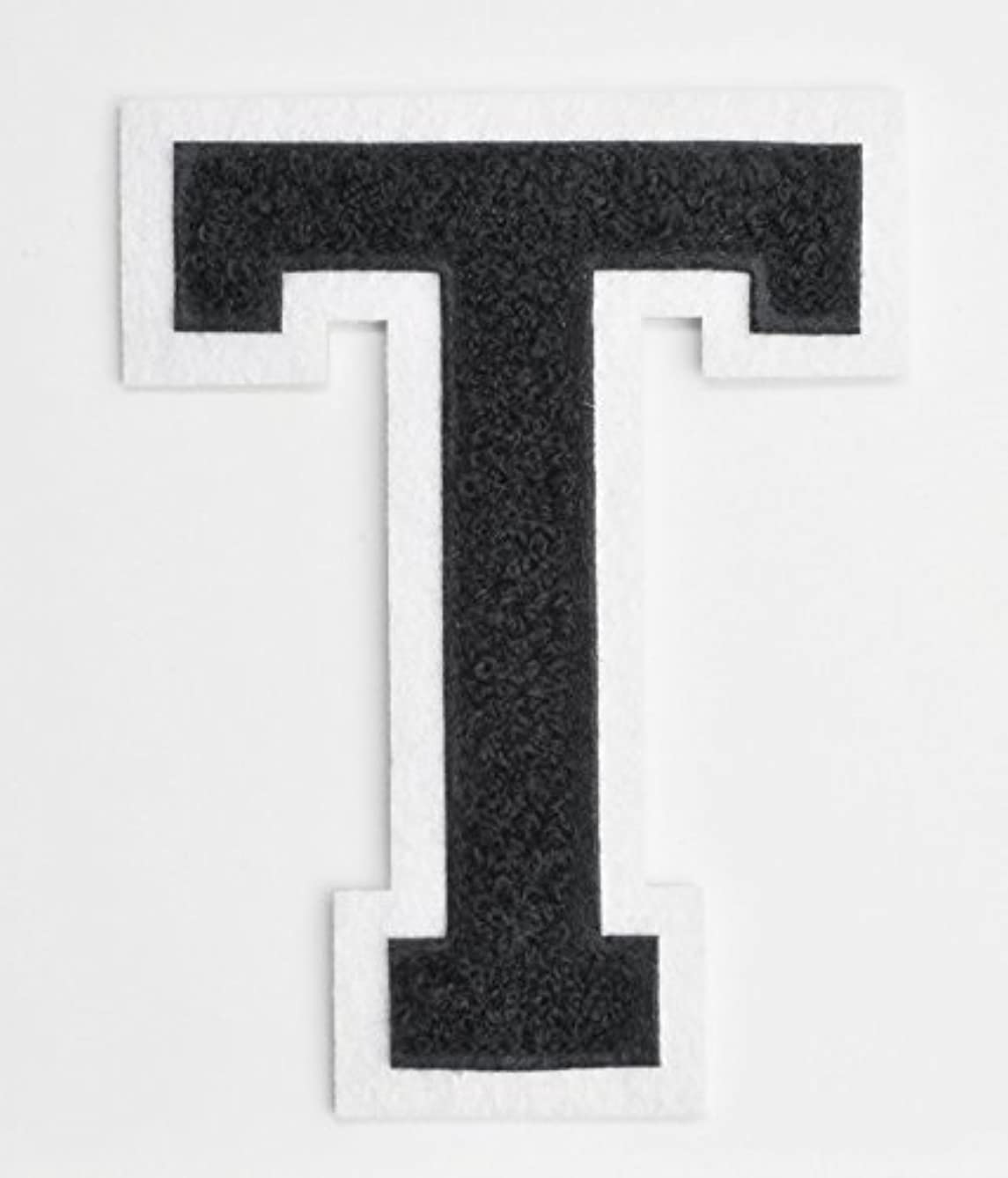 Varsity Letter Patches - Black Embroidered Chenille Letterman Patch - 4 1/2 inch Iron-On Letter Initials (Black, Letter T Patch)
