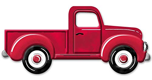 HAPPY DEALS ~ Metal Embossed Truck 12 X 5.5 | Wreath Embellishment Accent Sign for Spring, Easter and More (12 inch Red)