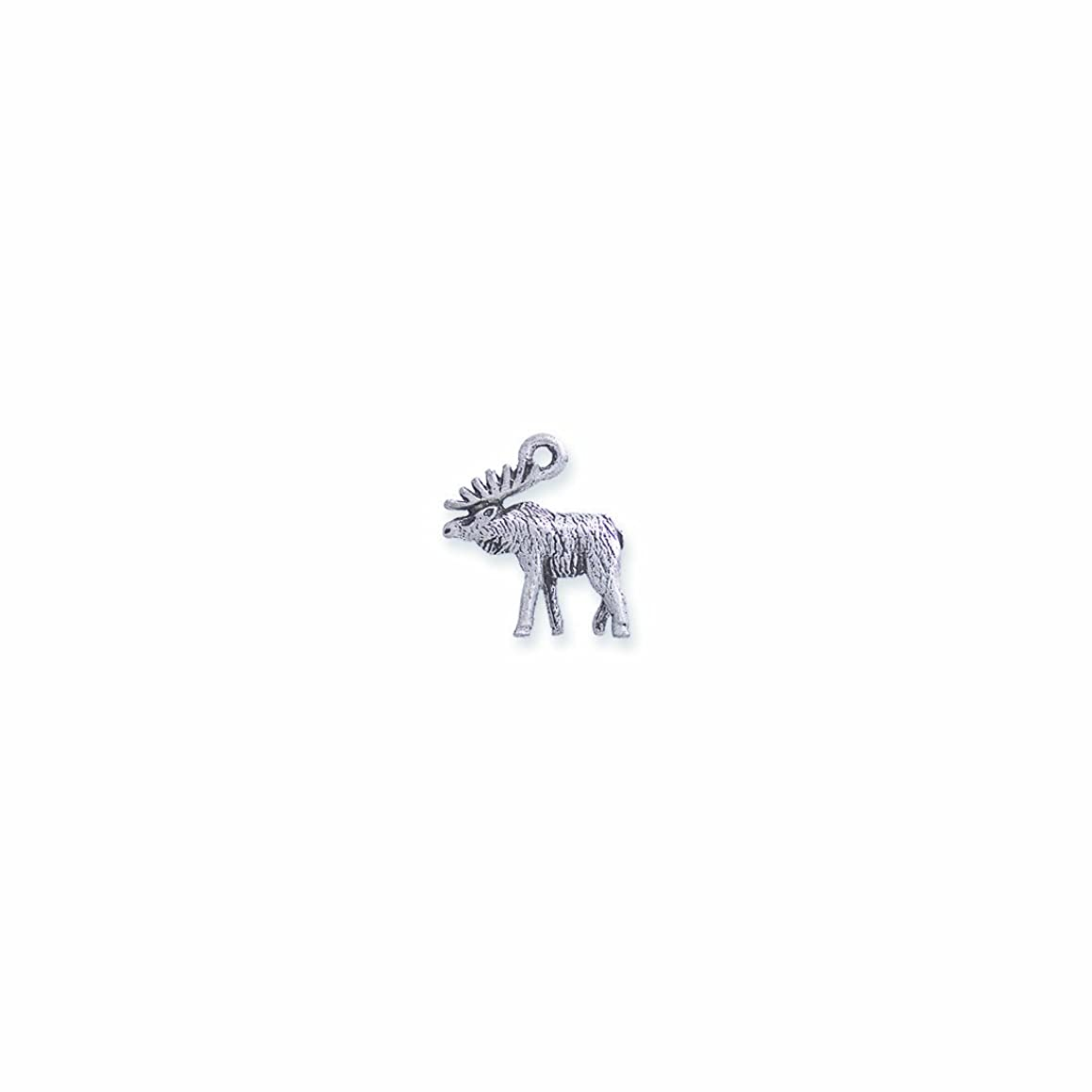 Shipwreck Beads Pewter Moose Charm, Silver, 15 by 17mm, 4-Piece