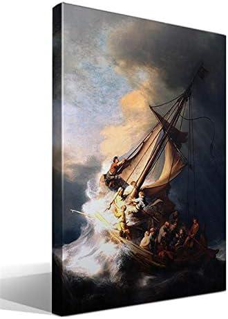 Cuadro Canvas La Tormenta En El Mar De Galilea De Rembrandt Harmenszoon Van Rijn Amazon Es Hogar