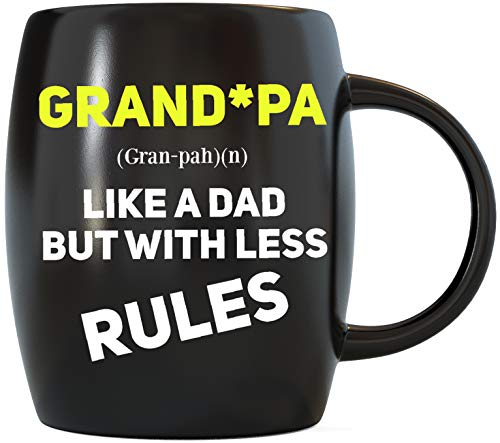 Father's Day Gifts for Grandpa Like A Dad But With Less Rules Funny Novelty Gag Gift for Grandfather World's Best Awesome Gramps Ever for Christmas or Birthday Ceramic Coffee Mug Tea Cup