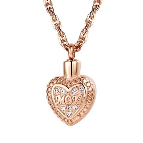 PROSTEEL Anhänger Halskette, Herz Parfüm Flasche Anhänger Rosegold vergoldet Englische Wort MOM Aroma Diffusor Ätherische Öle Diffusor mit 60cm Kette