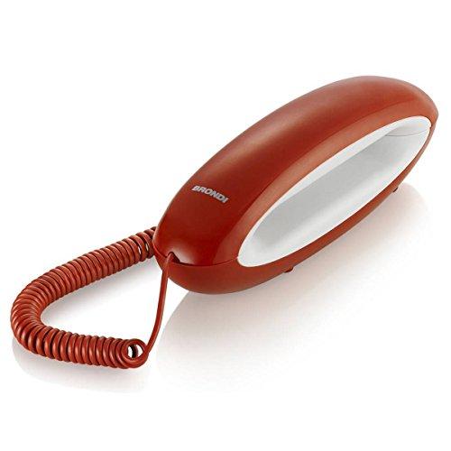 Brondi Dolphin - Teléfono (Teléfono analógico, Terminal con conexión por Cable, Altavoz, Rojo, Blanco)