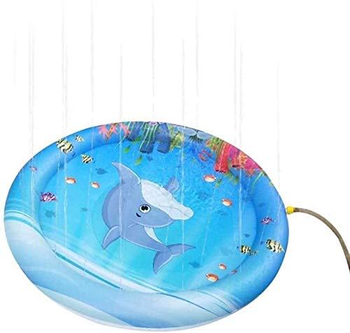 WSJTT Piscina Inflable de la Cama de Aire Flotante de la Fila, el jardín de Verano aspersando y Alfombra de Juguete para bebé, Estera de pulverización de Agua de 100 cm