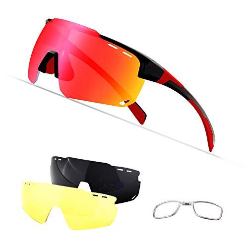 OULIQI Occhiali da Sole Sportivi, Anti-UV 400 Protezione Ciclismo Occhiali da Sole con 4 Lenti...