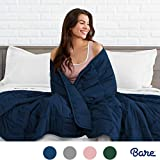 Bare Home Weighted Blanket for Adults and Kids 17lb (60' x 80') - All-Natural 100% Cotton - Premium Heavy Blanket Nontoxic Glass Beads (Dark Blue, 60'x80')