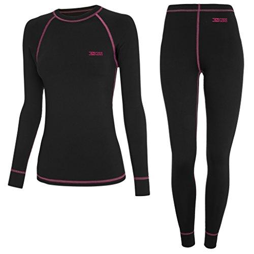 Freenord WARM LINE damska bielizna funkcyjna, termoaktywna, oddychająca, Base Layer Set Outdoor kolarstwo bieganie (czarna/różowa, L)
