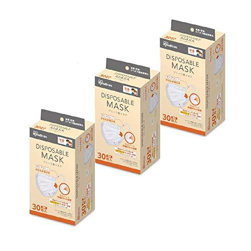 アイリスオーヤマ ディスポーザブル マスク 不織布 30枚×3個セット 学童用 20PN-30PG