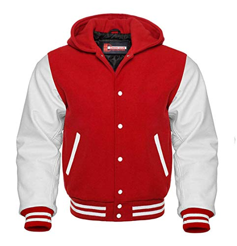 Men's Varsity Letterman Baseball Wool Leather Jacket in Wool body and Genuine Leather Sleeves in Customized Sizes and Colors (Red/White Hoodie, Large)
