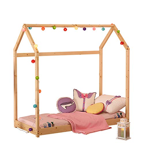 UHOM Bedroom Twin Size Furniture Premium Wood Children Toddler House Bed Frame King Size Tent Bed Floor Bed